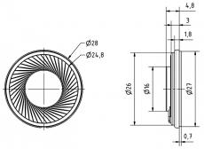 Miniaturlautsprecher 8Ohm DM28mm H5.5mm 1W  Max.2W IP65