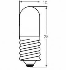 E10 12V 5W Röhrenform DM=10mm L=28mm