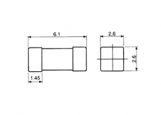 1A 125VAC Sicherung SMD 6,1x2,6x2,6mm