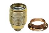 Lampenfassung E27 Außengewinde Messing mit Metall-Schraubring