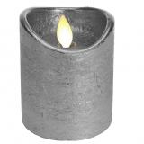 Kerze Led Flackereffekt 12,5cm Echtwachs silber