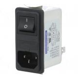 Kaltgeräteeinbau Stecker mit Filter Sicherung und Schalter
