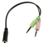 Klinkenkupplung 3,5mm 4pol. auf 2x Stecker für PC-Headset