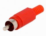 CINCH STECKER rot Nylon mit Knickschutz
