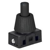 Druckschalter Einbau Schwarz 230V 2A M10x10mm Gewinde 12mm