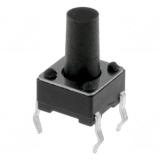Printtaster    6,0x6,0mm                h=9,5mm    liegend