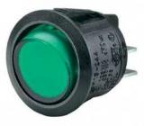 Wippschalter    1pol.EIN    AUS250V/6A    rund    20,2mm    grün