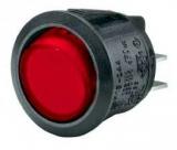 Wippschalter    1pol.EIN    AUS250V/6A    rund    20,2mm    rot